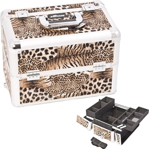 Borwn Interchangeable Easy Slide & Extendable Tray Leopard Textured Printing Professional Aluminum Cosmetic Makeup Case With Dividers (E3302LPBR)