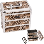 Brown Interchangeable Stackable Tray Leopard Textured Printing Professional Aluminum Cosmetic Makeup Case With Dividers (E3303LPBR)
