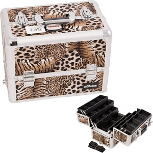Brown Interchangeable 6-Tiers Extendable Tray Leopard Textured Printing Professional Aluminum Cosmetic Makeup Case With Dividers (E3304LPBR)