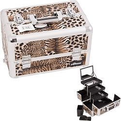 Brown Interchangeable 3-Tiers Extendable Tray Leopard Textured Printing Professional Aluminum Cosmetic Makeup Case With Mirror (E3305LPBR)