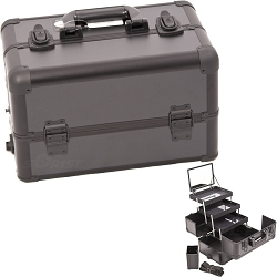 All Black Interchangeable 3-Tiers Extendable Tray Professional Aluminum Cosmetic Makeup Case With Mirror (E3305PPAB)
