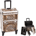 Brown Interchangeable 4-Wheels Leopard Textured Printing Professional Rolling Aluminum Cosmetic Makeup Case With Removable Tray And Dividers (E6301LPBR)