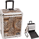 Brown Interchangeable Leopard Textured Printing Professional Rolling Aluminum Cosmetic Makeup Case With Large Drawers (E6303LPBR)