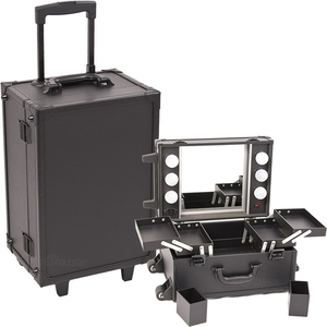 All Black Leather-Like Professional Rolling Makeup Studio Case With Lights & Mirror (C6201PVAB)