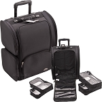 All Black Soft_Sided Professional Rolling Makeup Case With Removable Clear Bags (C6401NLAB)