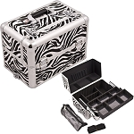 White Interchangeable Easy Slide & Extendable Tray Zebra Textured Printing Professional Aluminum Cosmetic Makeup Case With Dividers Brush Holder And Clear Bag (E3307ZBWH)