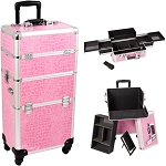 Pink Crocodile Printing Texture 4-Wheel Professional Rolling Aluminum Cosmetic Makeup Case And Easy-Slide Trays (I3161CRPK)