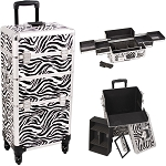 Zebra Printing Texture 4-Wheel Professional Rolling Aluminum Cosmetic Makeup Case And Easy-Slide Trays (I3161ZBWH)