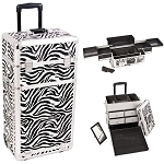Zebra Printing Texture Professional Rolling Aluminum Cosmetic Makeup Case With Split Drawers And Easy-Slide Trays (I3162ZBWH)