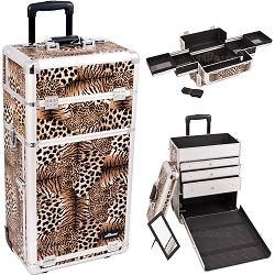 Leopard Textured Printing Professional Rolling Aluminum Cosmetic Makeup Case With Large Drawers And Easy-Slide Trays (I3163LPBR)