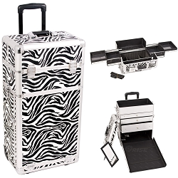 Zebra Printing Texture Professional Rolling Aluminum Cosmetic Makeup Case With Large Drawers And Easy-Slide Trays (I3163ZBWH)