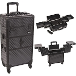 Black Diamond Pattern 3-Tiers Accordion Trays 4-Wheels Professional Rolling Aluminum Cosmetic Makeup Case And Easy-Slide Trays (I3164DMAB)