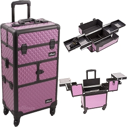 Purple Diamond Pattern 3-Tiers Accordion Trays 4-Wheels Professional Rolling Aluminum Cosmetic Makeup Case And Easy-Slide Trays (I3164DMPLB)