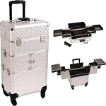 Silver Diamond Pattern 3-Tiers Accordion Trays 4-Wheels Professional Rolling Aluminum Cosmetic Makeup Case And Easy-Slide Trays (I3164DMSL)