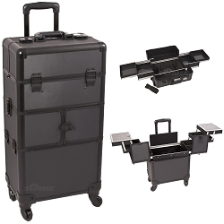Black Dot Pattern 3-Tiers Accordion Trays 4-Wheels Professional Rolling Aluminum Cosmetic Makeup Case And Easy-Slide Trays (I3164DTAB)