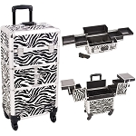 Zebra Printing Texture 3-Tiers Accordion Trays 4-Wheels Professional Rolling Aluminum Cosmetic Makeup Case And Easy-Slide Trays (I3164ZBWH)