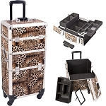 Leopard Printing Texture 4-Wheel Professional Rolling Aluminum Cosmetic Makeup Case And Easy-Slide & Extendable Trays With Dividers (I3261LPBR)