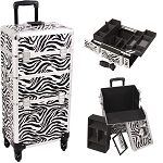 Zebra Printing Texture 4-Wheel Professional Rolling Aluminum Cosmetic Makeup Case And Easy-Slide & Extendable Trays With Dividers (I3261ZBWH)