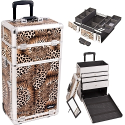 Leopard Textured Printing Professional Rolling Aluminum Cosmetic Makeup Case With Large Drawers And Easy-Slide And Extendable Trays With Dividers (I3263LPBR)