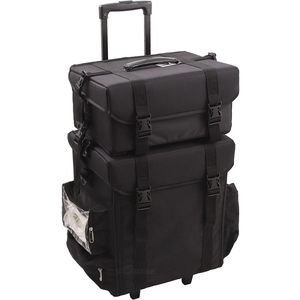 2-In-1 All Black Nylon Soft_Sided Professional Rolling Makeup Case With Drawers And Side Pockets (I3264NLAB)