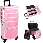 Pink Crocodile Printing Texture 4-Wheels Professional Rolling Aluminum Cosmetic Makeup Case And Stackable Trays With Dividers (I3361CRPK)