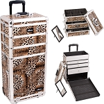 Leopard Textured Printing Professional Rolling Aluminum Cosmetic Makeup Case With Large Drawers And Stackable Trays With Dividers (I3363LPBR)