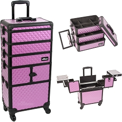 Purple Diamond Pattern 3-Tiers Accordion Trays Professional Rolling Aluminum Cosmetic Makeup Case And Stackable Trays With Dividers (I3364DMPLB)