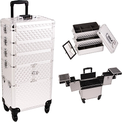 Silver Diamond Pattern 3-Tiers Accordion Trays Professional Rolling Aluminum Cosmetic Makeup Case And Stackable Trays With Dividers (I3364DMSL)