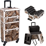 Leopard Printing Texture 4-Wheels Professional Rolling Aluminum Cosmetic Makeup Case And 6-Tiers Extendable Trays With Dividers (I3461LPBR)