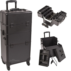 Black Smooth Pattern 4-Wheels Professional Rolling Aluminum Cosmetic Makeup Case And 6-Tiers Extendable Trays With Dividers (I3461PPAB)