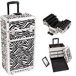 Zebra Textured Printing Professional Rolling Aluminum Cosmetic Makeup Case With Split Drawers And 6-Tiers Extendable Trays With Dividers (I3462ZBWH)