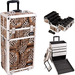 Leopard Textured Printing Professional Rolling Aluminum Cosmetic Makeup Case With Large Drawers And 6-Tiers Extendable Trays With Dividers (I3463LPBR)