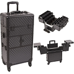 Black Diamond Pattern 3-Tiers Accordion Trays 4-Wheels Professional Rolling Aluminum Cosmetic Makeup Case And 6-Tiers Extendable Trays With Dividers (I3464DMAB)