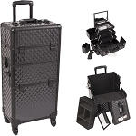Black Diamond Pattern 4-Wheels Professional Rolling Aluminum Cosmetic Makeup Case And 3-Tiers Extendable Trays With Mirror And Brush Holder (I3561DMAB)
