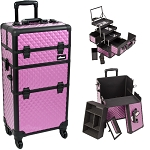 Purple Diamond Pattern 4-Wheels Professional Rolling Aluminum Cosmetic Makeup Case And 3-Tiers Extendable Trays With Mirror And Brush Holder (I3561DMPLB)