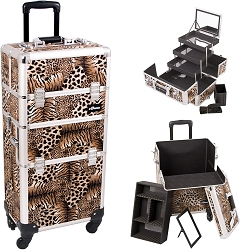 Leopard Printing Texture 4-Wheels Professional Rolling Aluminum Cosmetic Makeup Case And 3-Tiers Extendable Trays With Mirror And Brush Holder (I3561LPBR)