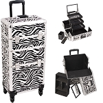 Zebra Printing Texture 4-Wheels Professional Rolling Aluminum Cosmetic Makeup Case And 3-Tiers Extendable Trays With Mirror And Brush Holder (I3561ZBWH)