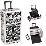 Zebra Textured Printing Professional Rolling Aluminum Cosmetic Makeup Case With Split Drawers And 3-Tiers Extendable Trays With Mirror And Brush Holder (I3562ZBWH)