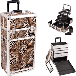 Leopard Textured Printing Professional Rolling Aluminum Cosmetic Makeup Case With Large Drawers And 3-Tiers Extendable Trays With Mirror And Brush Holder (I3563LPBR)
