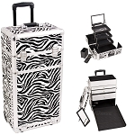 Zebra Textured Printing Professional Rolling Aluminum Cosmetic Makeup Case With Large Drawers And 3-Tiers Extendable Trays With Mirror And Brush Holder (I3563ZBWH)
