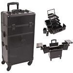 Black Crocodile Printing Texture 3-Tiers Accordion Trays 4-Wheels Professional Rolling Aluminum Cosmetic Makeup Case And 3-Tiers Extendable Trays With Mirror And Brush Holder (I3564CRAB)