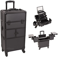 Black Dot Pattern 3-Tiers Accordion Trays 4-Wheels Professional Rolling Aluminum Cosmetic Makeup Case And 3-Tiers Extendable Trays With Mirror And Brush Holder (I3564DTAB)