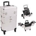 Silver Dot Pattern 3-Tiers Accordion Trays 4-Wheels Professional Rolling Aluminum Cosmetic Makeup Case And 3-Tiers Extendable Trays With Mirror And Brush Holder (I3564DTSL)
