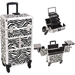 Zebra Printing Textured 3-Tiers Accordion Trays 4-Wheels Professional Rolling Aluminum Cosmetic Makeup Case And 3-Tiers Extendable Trays With Mirror And Brush Holder (I3564ZBWH)