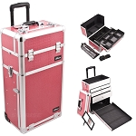 Hot Pink Crocodile Printing Texture Professional Rolling Aluminum Cosmetic Makeup Case With Large Drawers Easy-Slide Extendable Trays And Brush Holder (I3763CRHP)