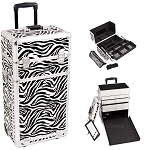 Zebra Printing Pattern Professional Rolling Aluminum Cosmetic Makeup Case With Large Drawers Easy-Slide Extendable Trays And Brush Holder (I3763ZBWH)