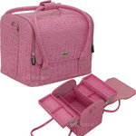 4-Tiers Expandable Trays Roll Top Pink Crocodile Professional Makeup Beauty Train Case (C3025CRPK)