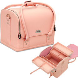 4-Tiers Expandable Trays Roll Top Pink Leather-Like Professional Makeup Beauty Train Case (C3025PVPK)