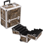 4-Tiers Accordion Trays Leopard Texture Printing Professional Rolling Makeup Case With Dividers (C6006LPBR)