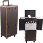 Brown Ancient Copper Hardware 4-Wheels Leather-Like Professional Rolling Aluminum Cosmetic Makeup Case With Expandable Trays Drawers And Mirror (C6019PVBR)